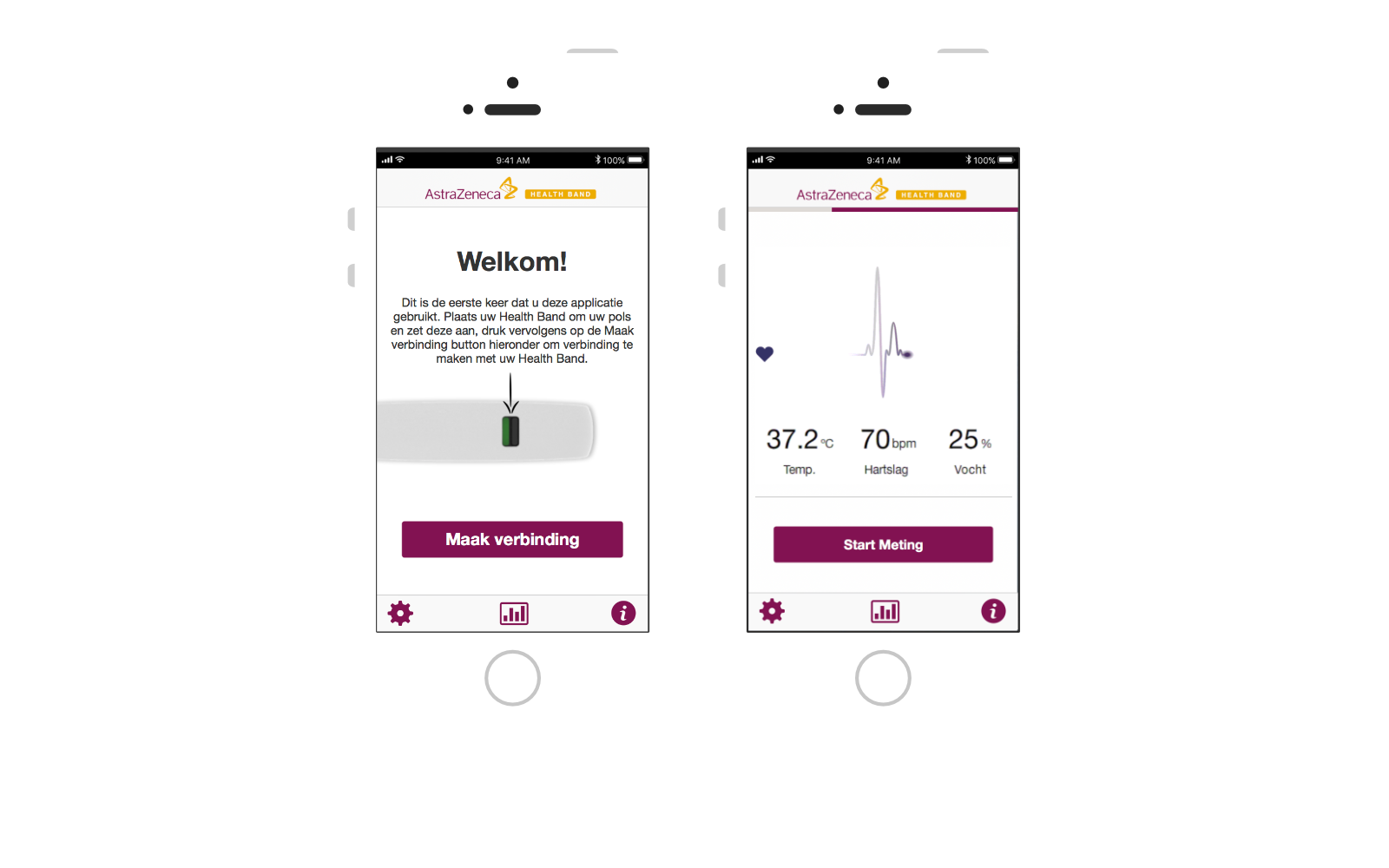 Two Astrazenca healthBand app screen demos shown on two iPhones side by side