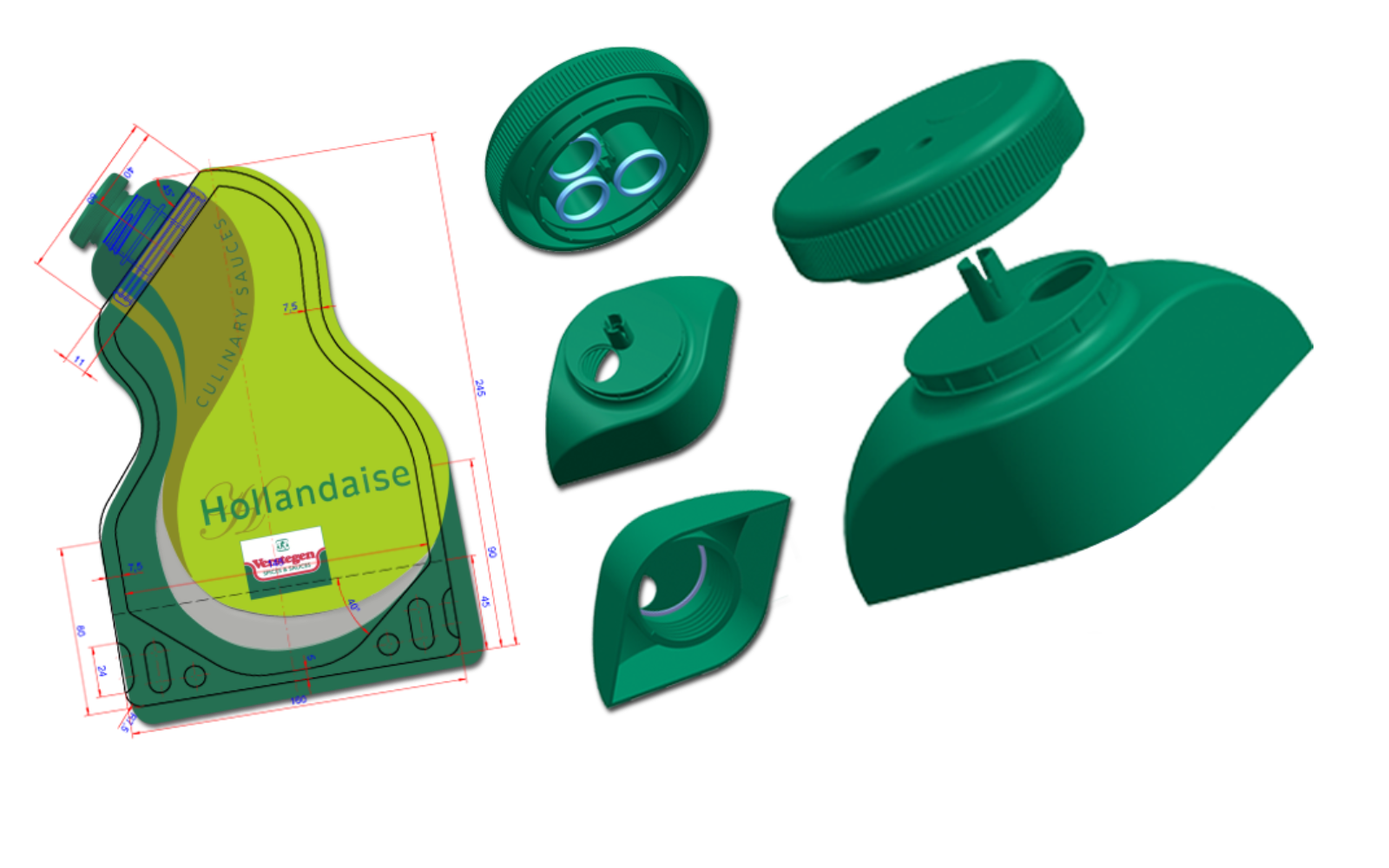Verstegen sauce cap shown at different angles